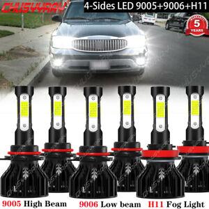For Buick Rainier 2004-2007 Combo 6x LED Headlight High Low Beam Fog Light Bulbs