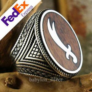 Natural Snake wood 925 Sterling Silver Turkish Handmade Sword Men Ring All Size