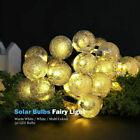 Solar Powered Led String Lights Retro Bulb Garden Party Crystal Ball Fairy Lamp