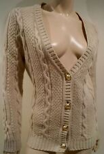 FLAVIO CASTELLANI Beige Wool & Cashmere Plunge V Neck Cable Knit Cardigan IT40