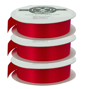 3 Rolls of 1in Red Ribbon No-Wire Valentine's Day Christmas Bows Gift Wrapping