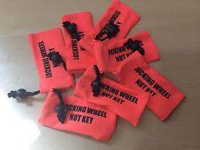 LOCKING WHEEL NUT KEY BAG - FLUORESCENT ORANGE - EASY TO FIND IN CAR