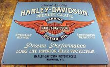 HARLEY DAVIDSON FINEST QUALITY MOTOR OIL HIGHLY EMBOSSED METAL ADVERTISING SIGN