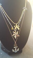 """Betsey Johnson Vintage In The Navy Anchor Star Bow Sailor Necklace  18"""""""