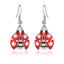 Ladybug Fashionable Earrings - Enamel - Fish Hook - Sparkling Crystal
