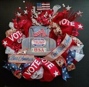 Patriotic Republican God Bless America Trump Vote Flag 24 Deco Mesh Wreath Store