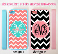 PERSONALIZED TEAL PINK BLACK CHEVRON MONOGRAM RUBBER CASE FOR IPHONE X 8 7 6 SE