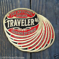 10 Vintage Original NATIONAL SMOKE TRAVELER Oval Cigar Box Label Unused 1910s