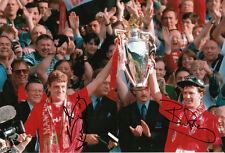 Manchester United Hand Signed Steve Bruce & Bryan Robson Photo 12x8.
