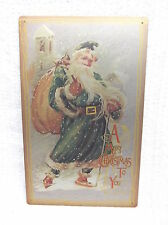 Merry Christmas SANTA Tin Metal Sign Decor Holiday Snow Vintage Look NEW