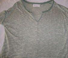 Next Notch Neck Top khaki ecru striped linen blend jersey 3/4 sleeve Size 12 vgc