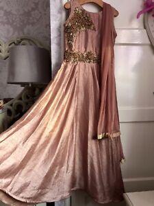 Girls 7-8yr Indian Asian Dress Suit Wedding Party Embellished Dusky Pink Eid