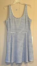 H&M Divided Women's Size 14 Skater Dress Mini Black White Striped Sleeveless