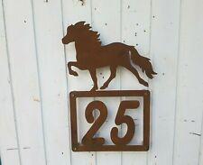 Sonnenreiter Islandpferd Wandbild Stall-Deko Boxenschild Edelrost Pferdebox