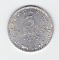 1922 A  GERMANY 3 Mark Coin Y-248