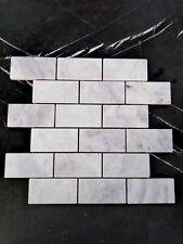 Grey Carrara  Marble Small Subway Mosaic Wall Floor Kitchen Bathroom Splashback