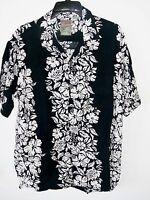 Vtg Pineapple Connection Black Aloha Hawaiian Flower Shirt Mens Size Medium
