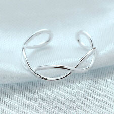 925 Sterling Versilbert Verstellbar Offen Ring Daumen Damen Man Stricken-twist