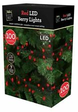 Bright Red 100 LED Christmas Berry Indoor Outdoor String Fairy Lights