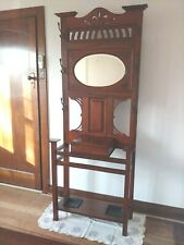 Antique Hallstand (Late Victorian) with Oval Mirror