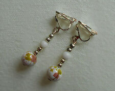 Handmade Clip on Earrings Silver Plated Mottled Glass Beads White Purple Unique