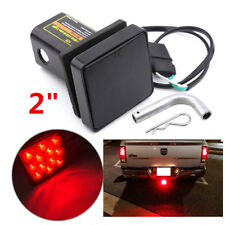 "2"" Trailer Receiver Hitch Lamp Cover 12LED RV Truck Pickup Tail Light Smoke Lens"