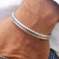 New Men's Women Braided Cuff Bracelet 925 Sterling Silver Bangle Free Size 32g
