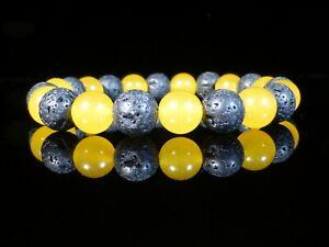 Lava Stone Yellow Jade Bracelet 10mm