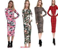Women Ladies Long Sleeve Printed Camouflage Leopard Tartan Bodycon Midi Dress