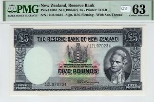 New Zealand 1960-1967 5 Pounds PMG Certified Banknote UNC Choice 63 Pick 160d
