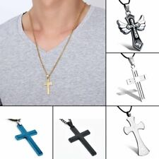 Fashion Stainless Steel Cross Crystal Pendant Necklace Leather Chain Punk Style