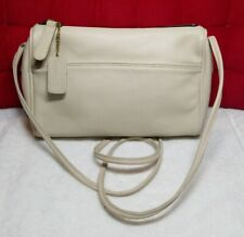 Vintage COACH Crossbody Purse Cream LEATHER BAG Zippered