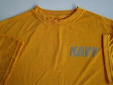 US Navy All Ranks Rates Ship Shore ATHLETIC PT Crew's L/S Yellow T-Shirt ~ Small
