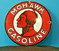 VINTAGE MOHAWK GASOLINE PORCELAIN SERVICE STATION MOTOR OIL PUMP PLATE SIGN