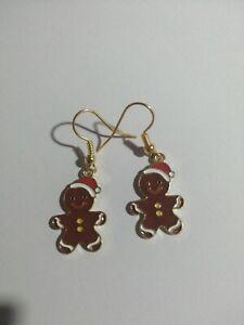 Christmas Gingerbread Man Earrings Cute Gold Colour