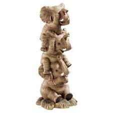 The Hear-No See-No Speak-No Evil Design Toscano Hand Painted Elephants Statue