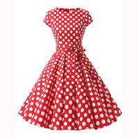 Women's 1950s Vintage Rockabilly Prom Dresses Retro Cap Sleeve Swing Dresses