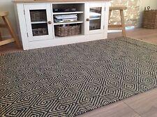 ❤️ Diamond Design Jute Teal Rug 120cm x 180cm Fair Trade Flat Weave Coarse Loom