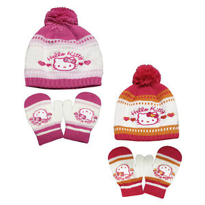 Girls Hello Kitty Hat & Mitten Set Baby Knitted Hat Set One Size From 2-8 Years