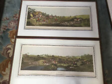 2 Antique Fox Hunting Engravings By Sutherland Painted By D Wolsternholm