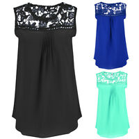 Womens Summer Chiffon Lace Sleeveless Shirt Casual Vest Blouse Loose Ladies Tops