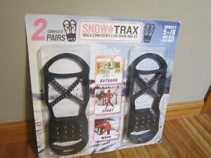 Snow Trax Set Of Two Anti Slip Ice Snow Grips Cleats WOMEN SZ 5-10 Slip On #T12