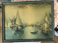 Richard Dey De Ribcowsky Lithograph Venice Sunset with Boats Framed Print Italy