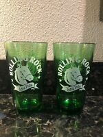 "2 Vintage Rolling Rock Extra Pale Beer Glasses Green 6"" 14oz Pint. FREE SHIPPING"