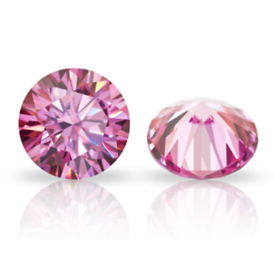 1CT 6.5mm Pink Loose Diamond VS1 Round Cut Stone Gemstone With Certificate