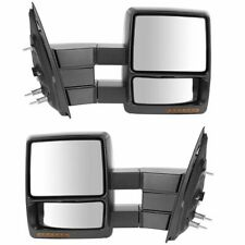 Towing Mirror Power Heated Turn Signal Puddle Light Black Pair Set for Ford F150