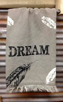 Tea Towel Dream Grey Fringe Kitchen Dish Cloth Feather themed Inspirational Gift