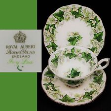 Royal Albert 1950s-1960s Ivy Lea Green Avon English Vintage Bone China Trio Set