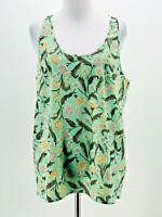 Frenchi Women's Green & Yellow Floral Print Scoop Neck Tank Blouse Size Large