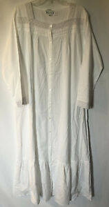 The 1 One for U You Button Down White w/Lace Trim Long Nightgown Night Dress XL
